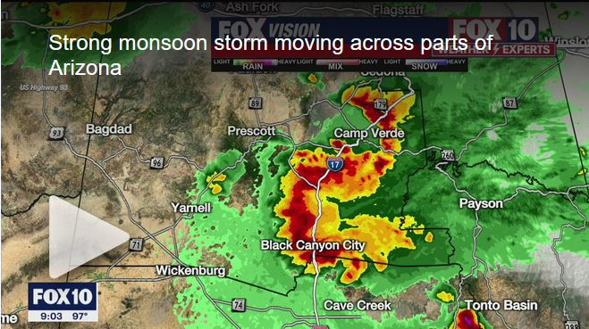 Strong monsoon storms moving across Arizona and into the Valley